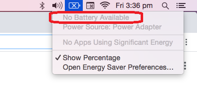MacBook battery not charging - No battery available