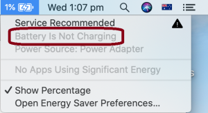 MacBook battery not charging - notification on Catalina