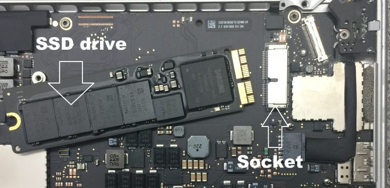 SSD drive removed from a MacBook Pro