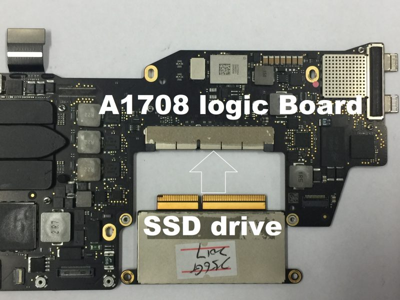 SSD drive removed from a A1708 logic board